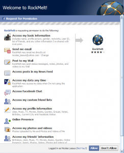 RockMelt Facebook permission screen